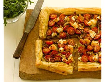 Caramelised onion, cherry tomato and goat's cheese tart